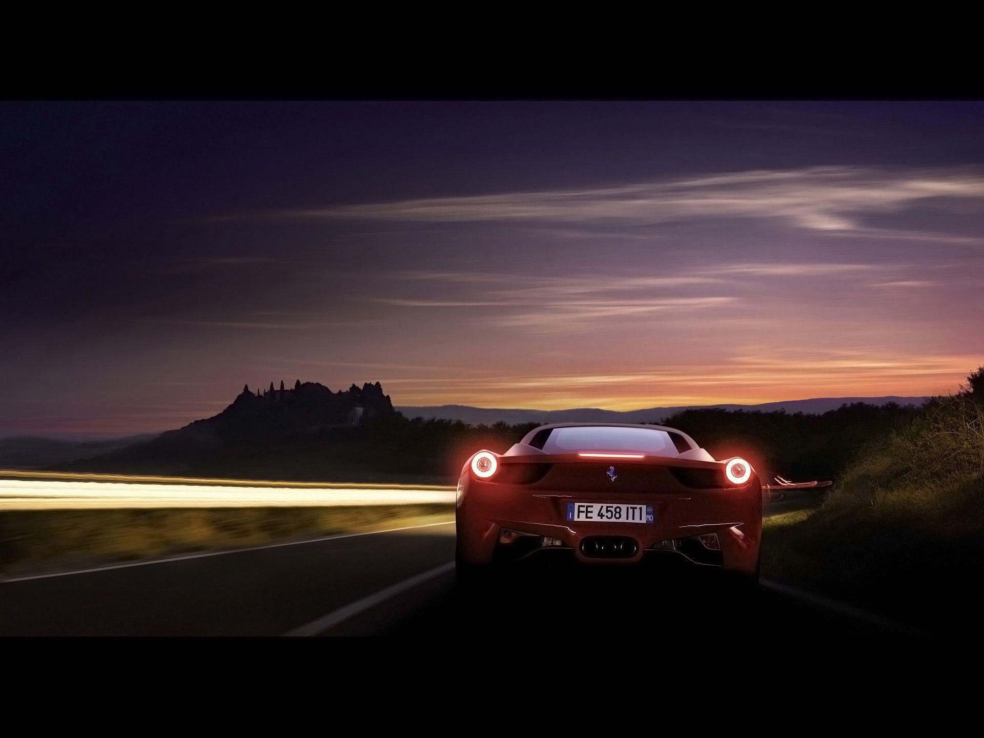 2011 Ferrari 458 Italia Red Rear Speed Night 1920x1440