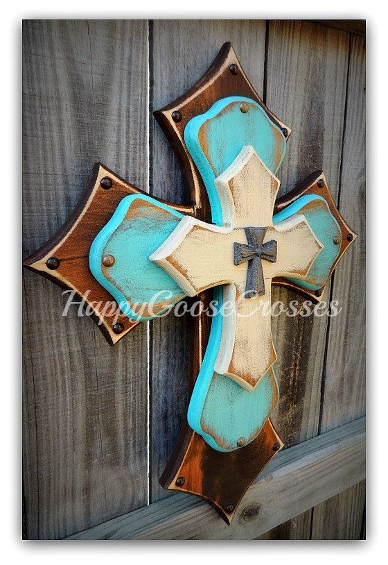 Medium Wall CROSS 3-layer Brown antiqued turquoise by happygoose