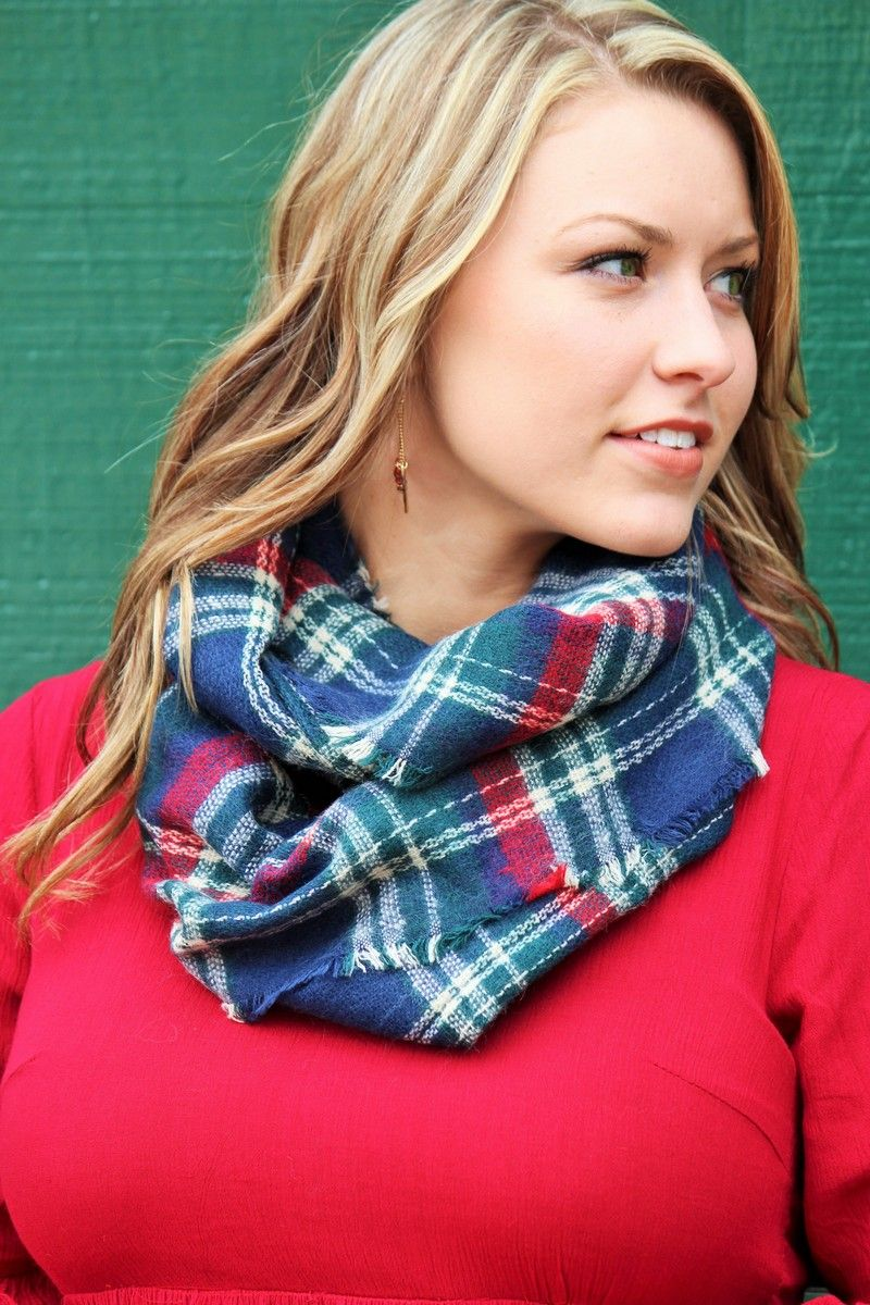 Chilly Days Plaid Infinity Scarf Navy Blue Plaid