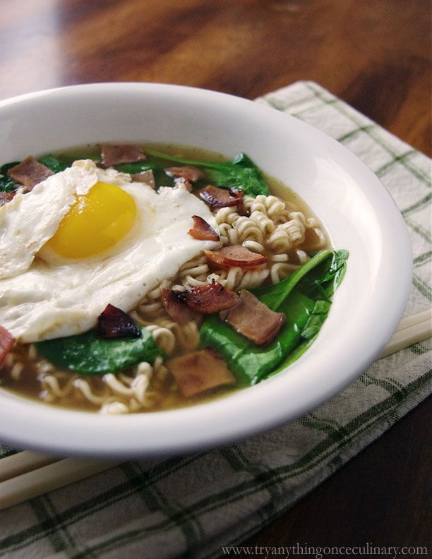 Ham and Egg Ramen Noodle Bowl | www.tryanythingonceculinary.com | This ramen noodle bowl is a great way to add flavor to a classic noodle without the packet. Perfect for a cold night and so easy it can be made on a weeknight. | #ramennoodlebowlrecipe #hamandeggnoodlesoup #easyramenrecipe