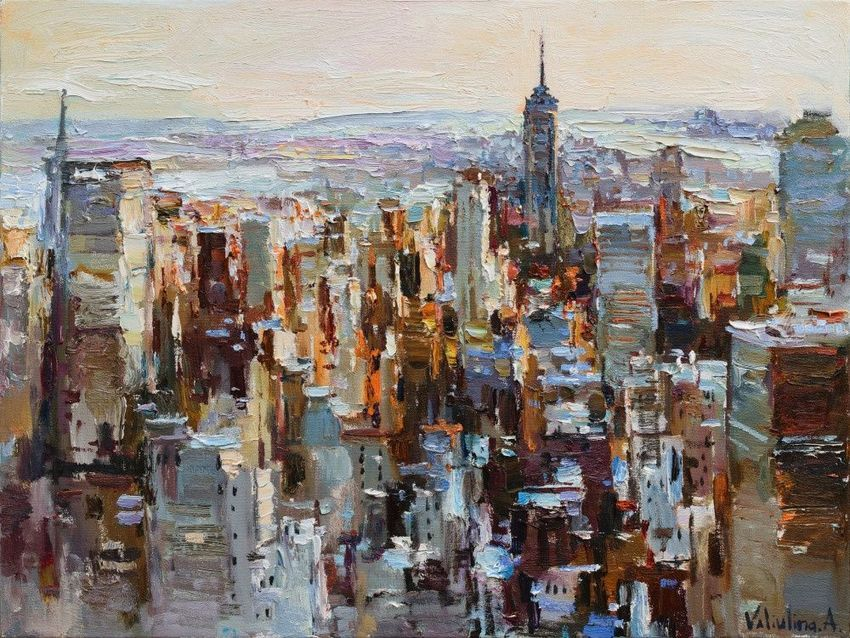 Sunrise In New York City Morning Urban Landscape Painting Paintings Impressionism Architecture Cityscape Land Landscape Paintings Painting City Painting