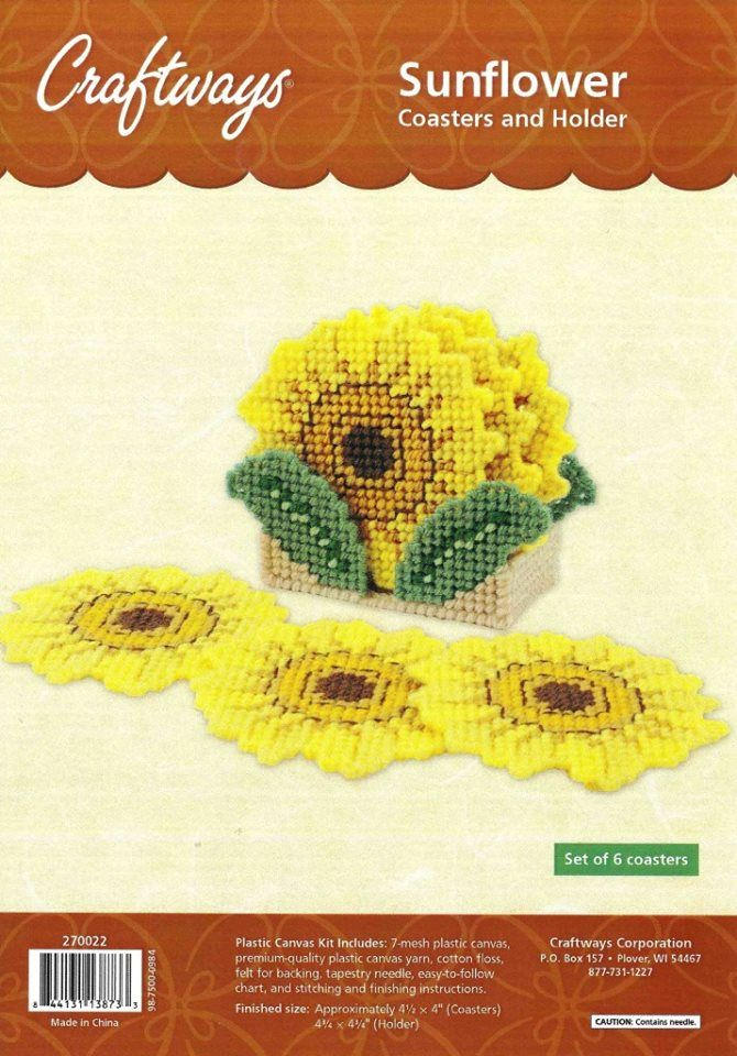 Sunflower Coasters And Holder By Craftways 1 2 Plastic Canvas