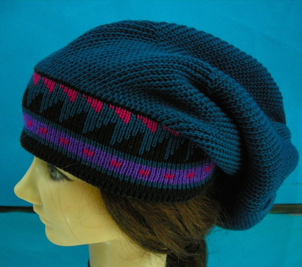 8418f8ad866 Wigwam Slouchy Boho Beanie Oversize Knit Hat Blue NWT Wool Blend Men Women   Wigwam  Beanie