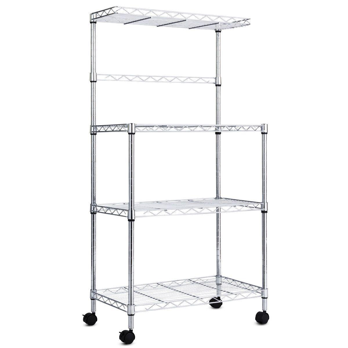 3 Tier Kitchen Microwave Baker Stand Storage Cart Rack Microwave