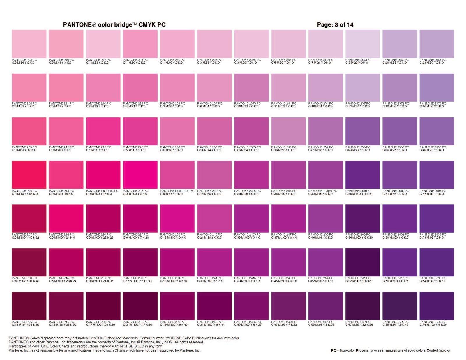 Colours Collection Purple Pantone Color Bridge Pantone Color