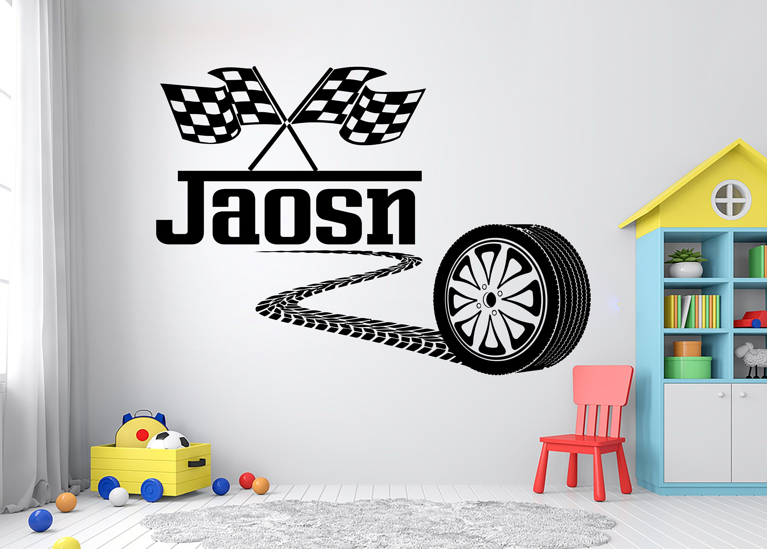 Large Custom Name Racing Car Tire Checkered Flags Wall Decal Etsy Wall Decals Room Decals Vinyl Wall Decals [ 2148 x 3000 Pixel ]