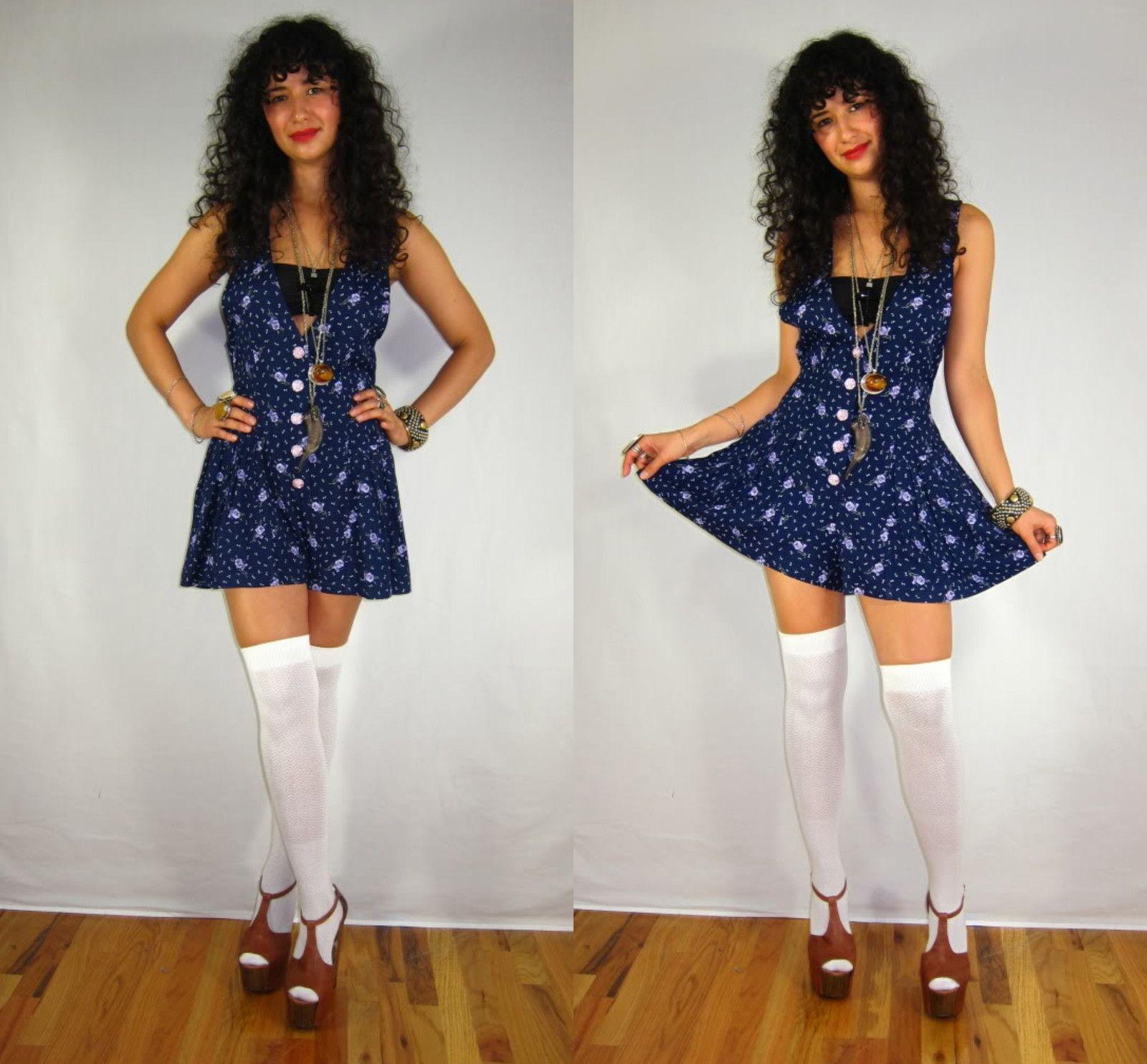 d8fd8e1c6d3 Vintage 80s BABYDOLL Navy Blue FLORAL Rose School Girl ROMPER ONESIE  PLAYSUIT Shorts