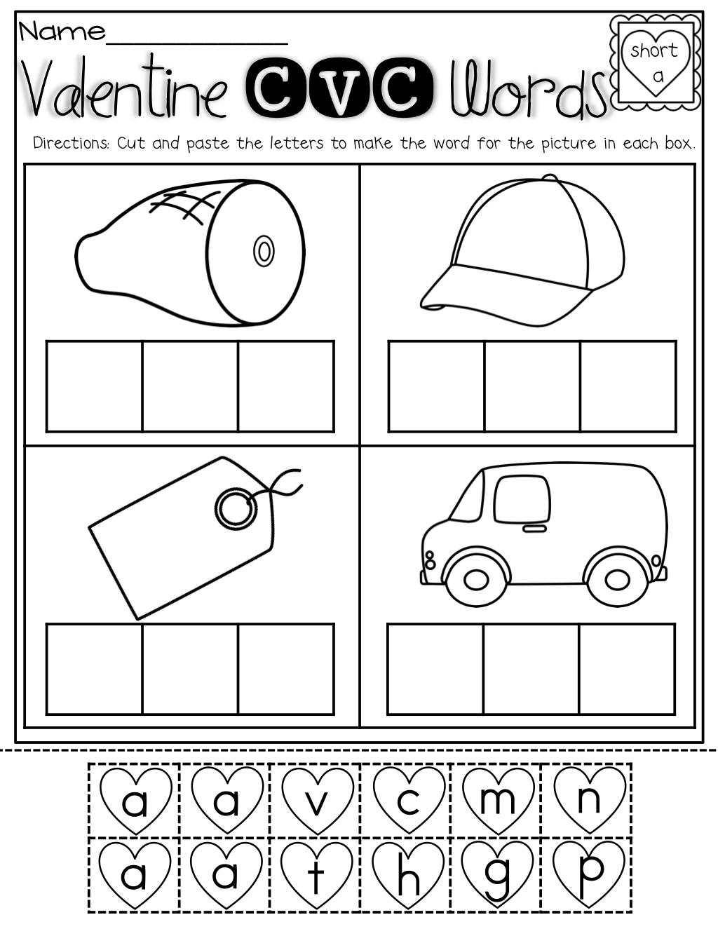 worksheet Free Cvc Worksheets february no prep packet kindergarten school and cvc words cut paste for valentines