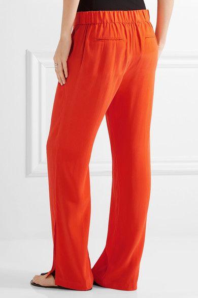Niko Washed-silk Wide-leg Pants - Bright orange Equipment mTpHAXc7