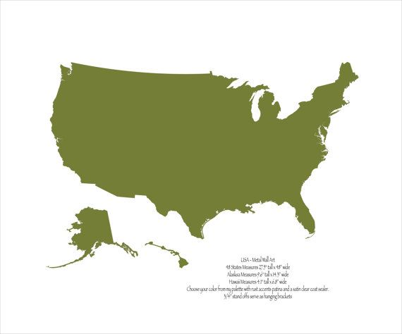USA Map Metal wall art 48 wide 3 separate by FunctionalSculpture