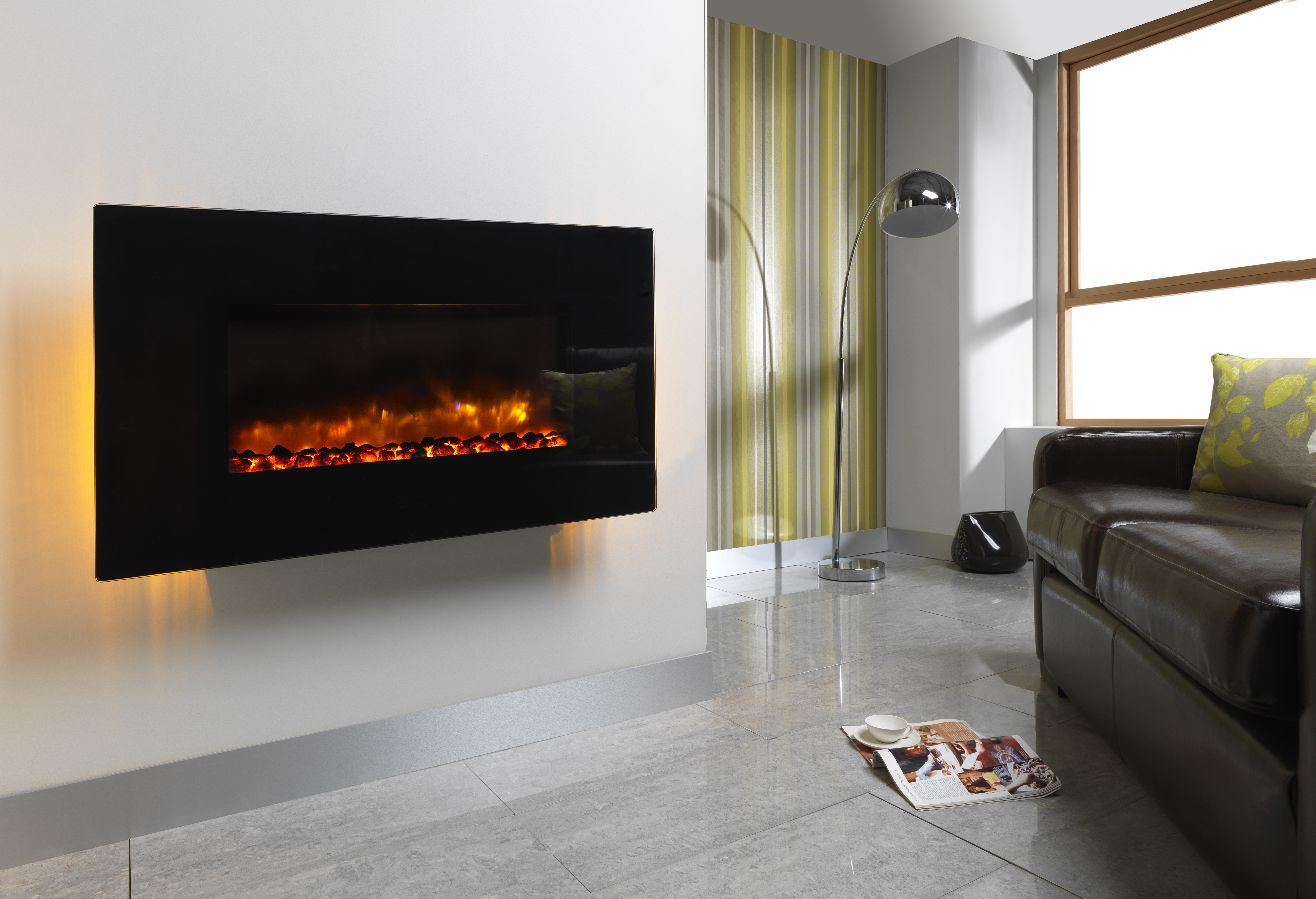 orlando 2kw wall mounted electric fire complete with flat black rh pinterest com