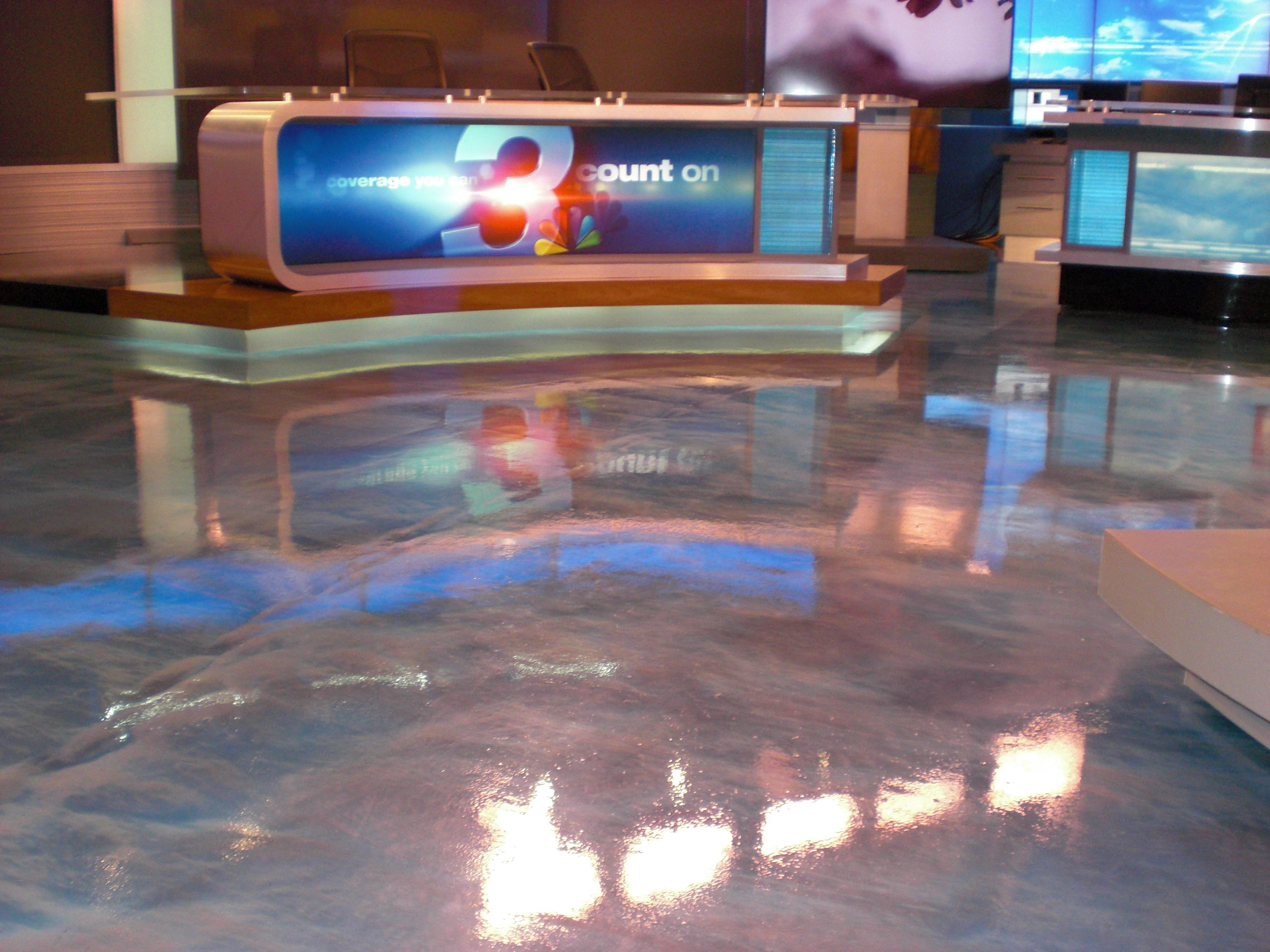 WRCB-TV News Channel 3 New Studio Epoxy Floor: Metallic