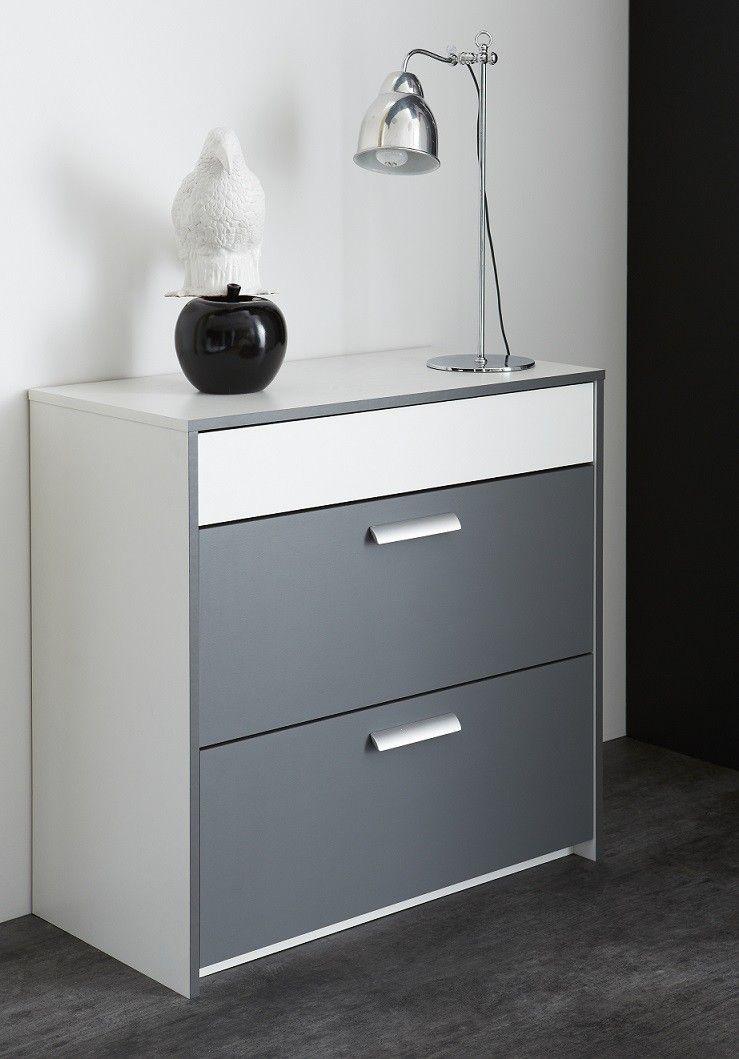 Commode 3 tiroirs blanc-gris graphite Simon Commode pour chambre