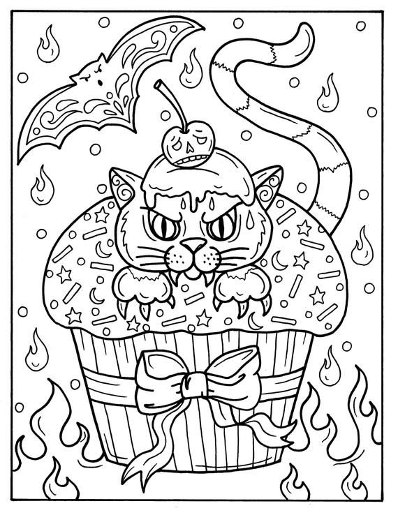 5 Pages Halloween Cupcakes To Color Instant Download Digital Etsy Halloween Coloring Halloween Coloring Book Halloween Coloring Pages