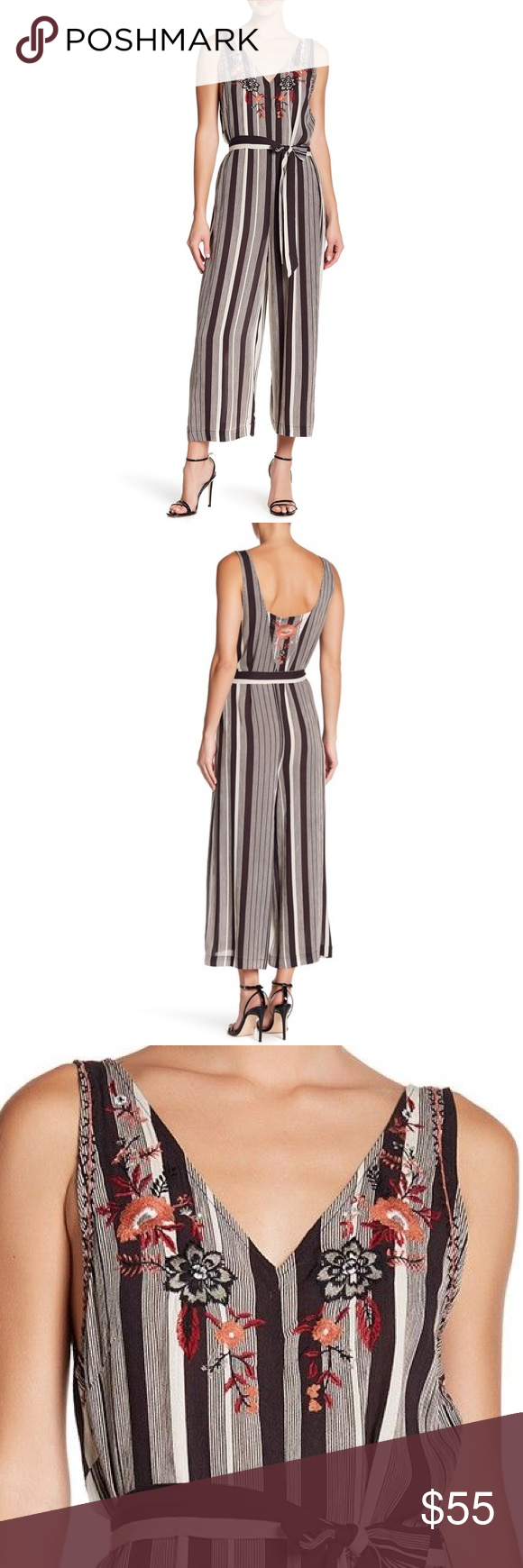 NEW Fall Jumpsuit Striped Floral Embroidered  M Modern Striped Jumpsuit with Fall Embroidery  Brand. Crimson and Grace  Size. Medium  Condition. New with Tags  - V-neck - Sleeveless - Concealed side zip closure - Striped print - Floral embroidery - Self-tie waist Pants Jumpsuits & Rompers #jumpsuitromper