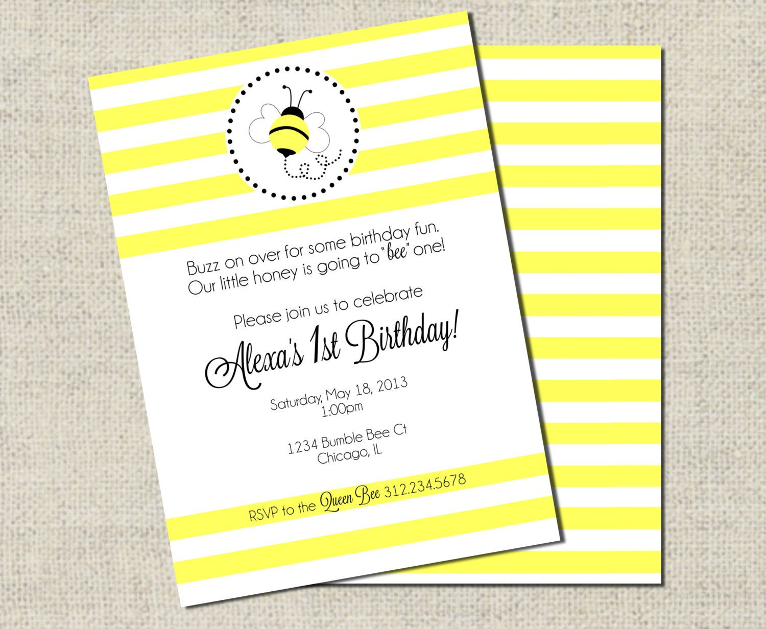 Bumble Bee Birthday Invitation Printable by GeminiCelebrations ...
