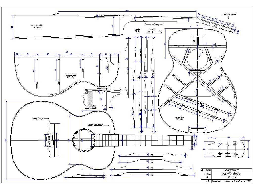 hight resolution of guitar blueprints