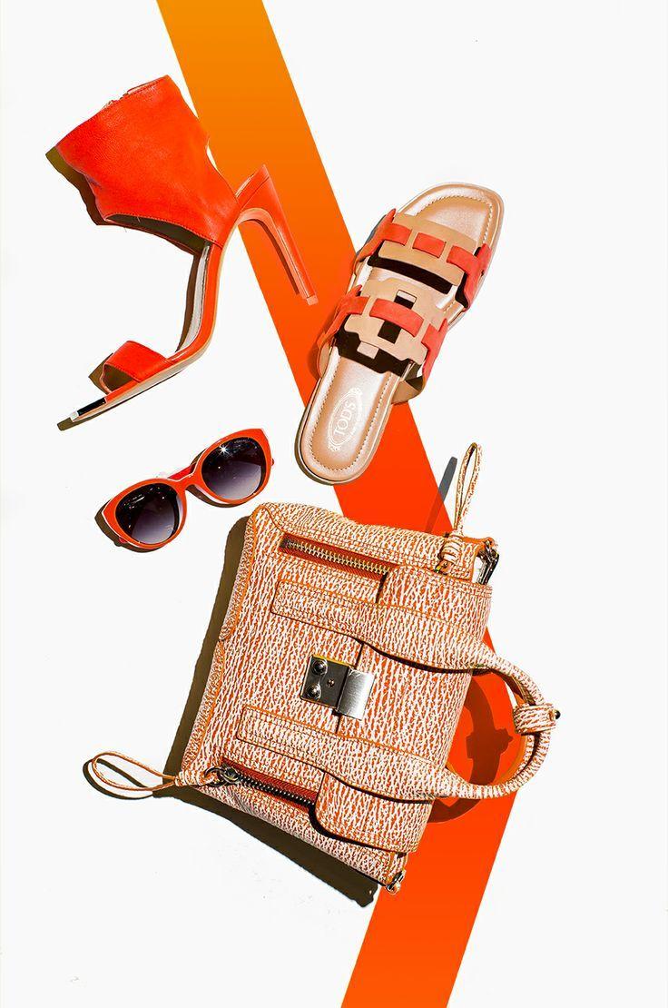 Pop of orange Leather handbags, Fashion still life, Soft