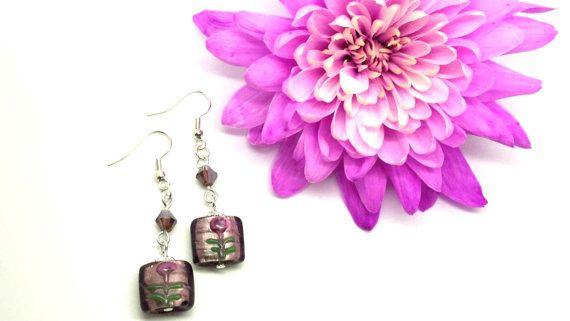 Rose Flower Beaded Earrings by #SpiritShineOn. £4.99 Click to buy. #Purple  #Rose #Flower #Beaded #Earrings #Handmade #Jewellery #Spring #Fashion #Beauty