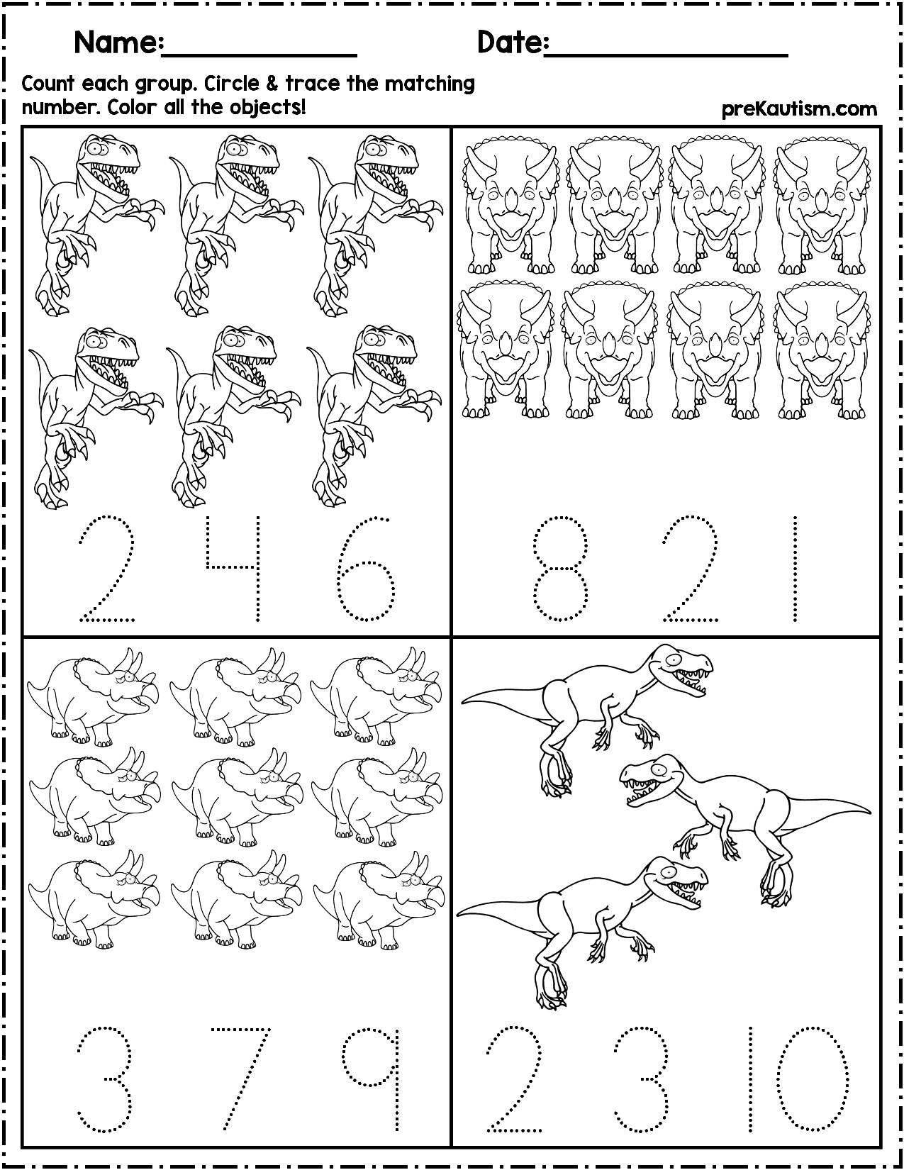 dinosaur count number write autism activities for ages 3 5 dinosaurios animales caligraf a. Black Bedroom Furniture Sets. Home Design Ideas