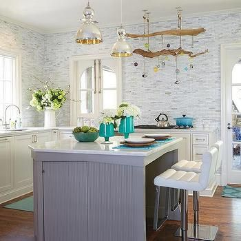 Jamie young st charles mercury glass island pendant contemporary whimsical kitchen features a pair of jamie young st charles mercury glass pendants illuminating a gray center island topped with curved marble lined with aloadofball Images