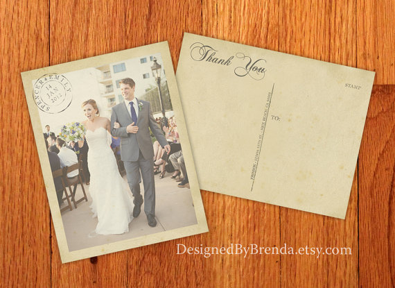 Vintage Wedding Thank You Postcards with Postmark & Photo – Personalized Rustic Card – Recycled Cardstock Matte Finish – Custom Designed