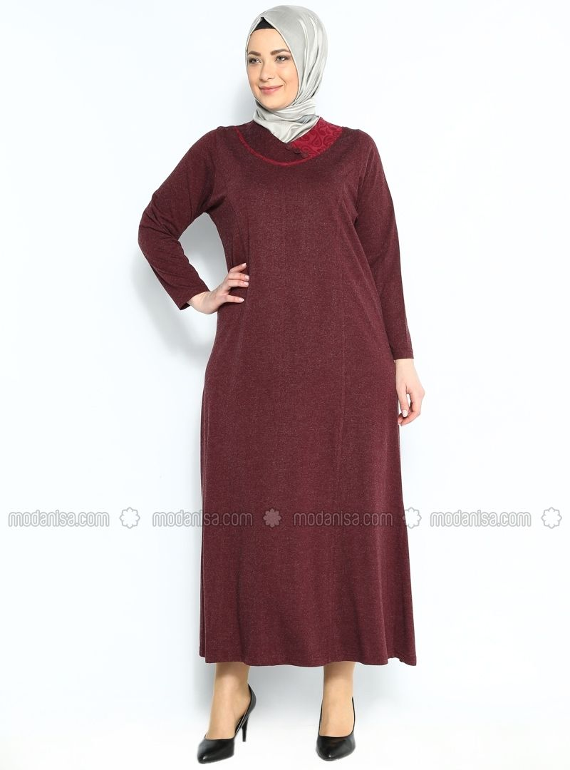Klasik Elbise Bordo Neslihan Triko Klasik Elbiseler Mutevazi Kiyafetler Elbise