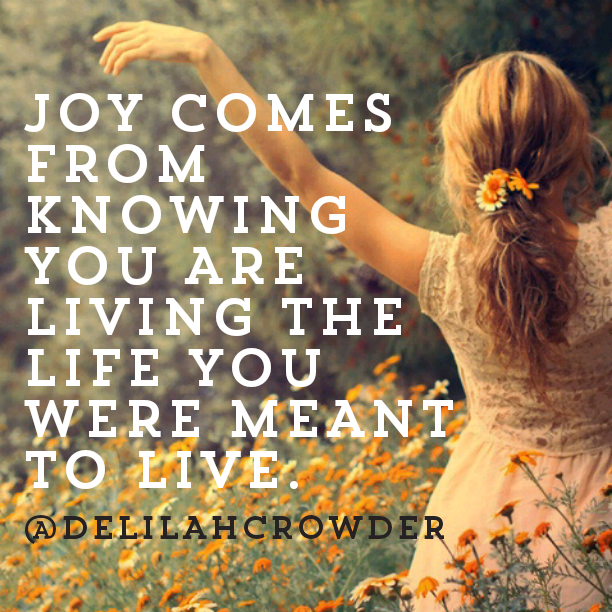 Joy comes from knowing you are living the life you were meant to live.