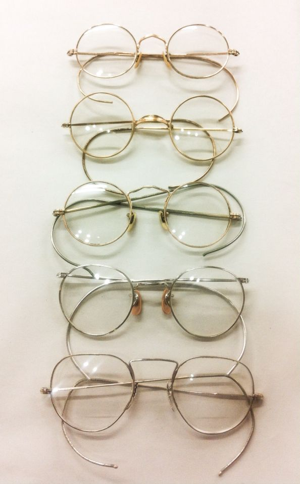 8a2845db757 1920 s-30 s Antique wire rimmed eyeglasses w coil cable temples. 12k gold  filled by American Optical and other not so well known companies.
