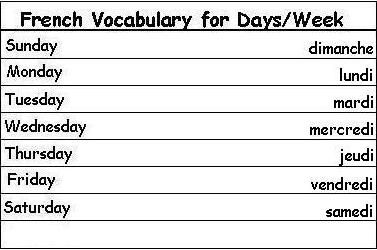 french vocabulary words for days of the week learn french importance of french pinterest. Black Bedroom Furniture Sets. Home Design Ideas
