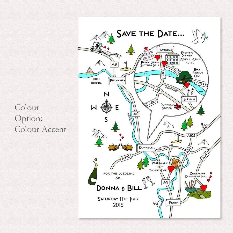 Wedding Or Party Illustrated Map Invitation Wedding and Weddings