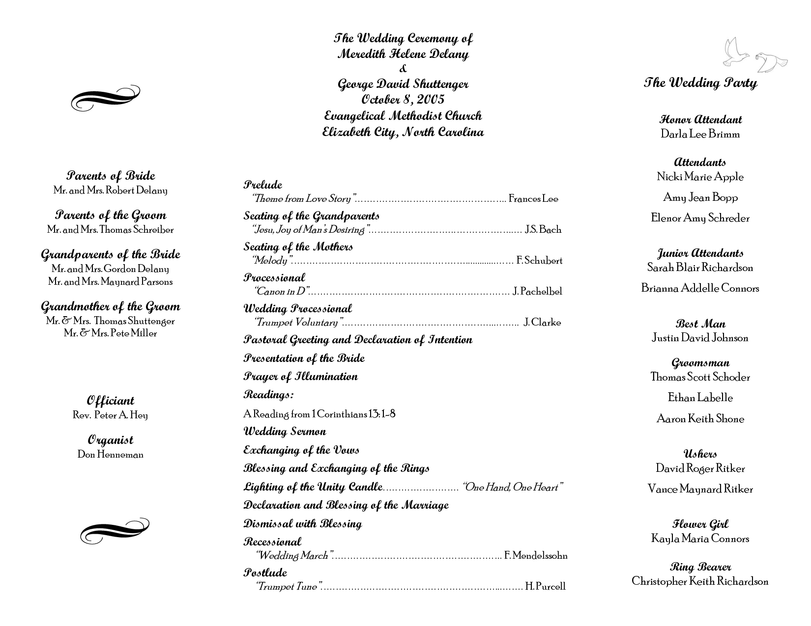 Wedding itinerary templates free wedding program sample for Templates for church programs