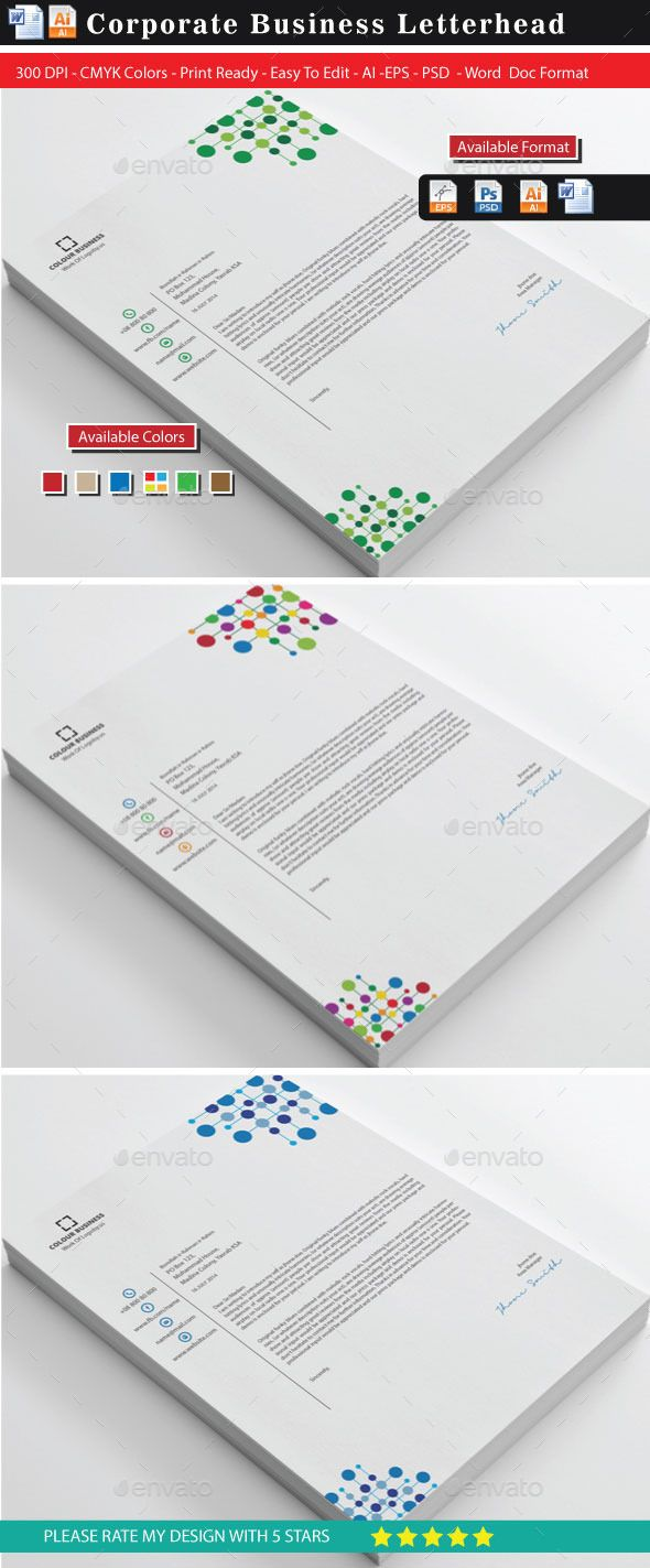 Corporate Colourful Business Letterhead Updated  Logos Font