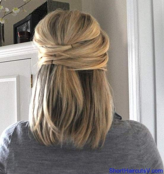 Half Up Hairstyles For Short Hair --wonder if my layers will do this with a poof?