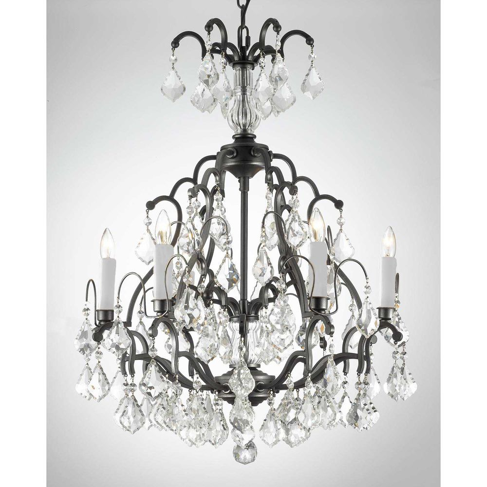 Gallery versailles 6 light wrought iron crystal chandelier gallery versailles 6 light wrought iron crystal chandelier overstock arubaitofo Images