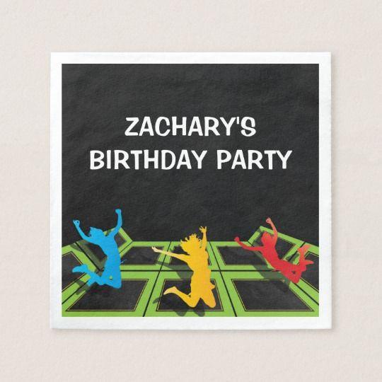 trampoline park kids birthday party paper napkins | zazzle