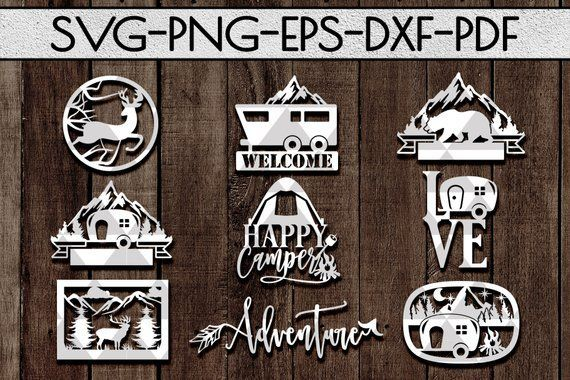 camping sign papercut templates cutting file, vinyl cutting, laser vector, camper summer, adventure awaits, silhouette, cricut, dxf, pdf