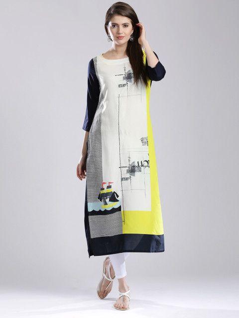 080cad78b Buy W Women Off White Printed Kurta - Kurtas for Women | Myntra ...