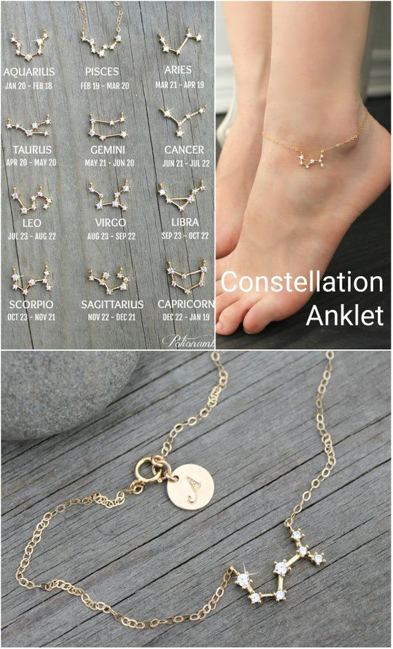 Photo of Constellation ANKLET, Cubic zirconia diamonds, 14k gold filled, cz Celestial Zodiac ankle bracelet chain,personalized initial,bridesmaids
