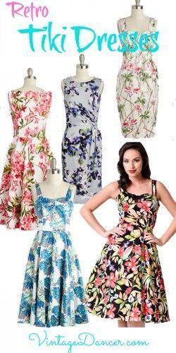 0b0f10f370b9 Shop retro vintage Tiki dresses for that 1940s and 1950s summer party.  VintageDancer.com