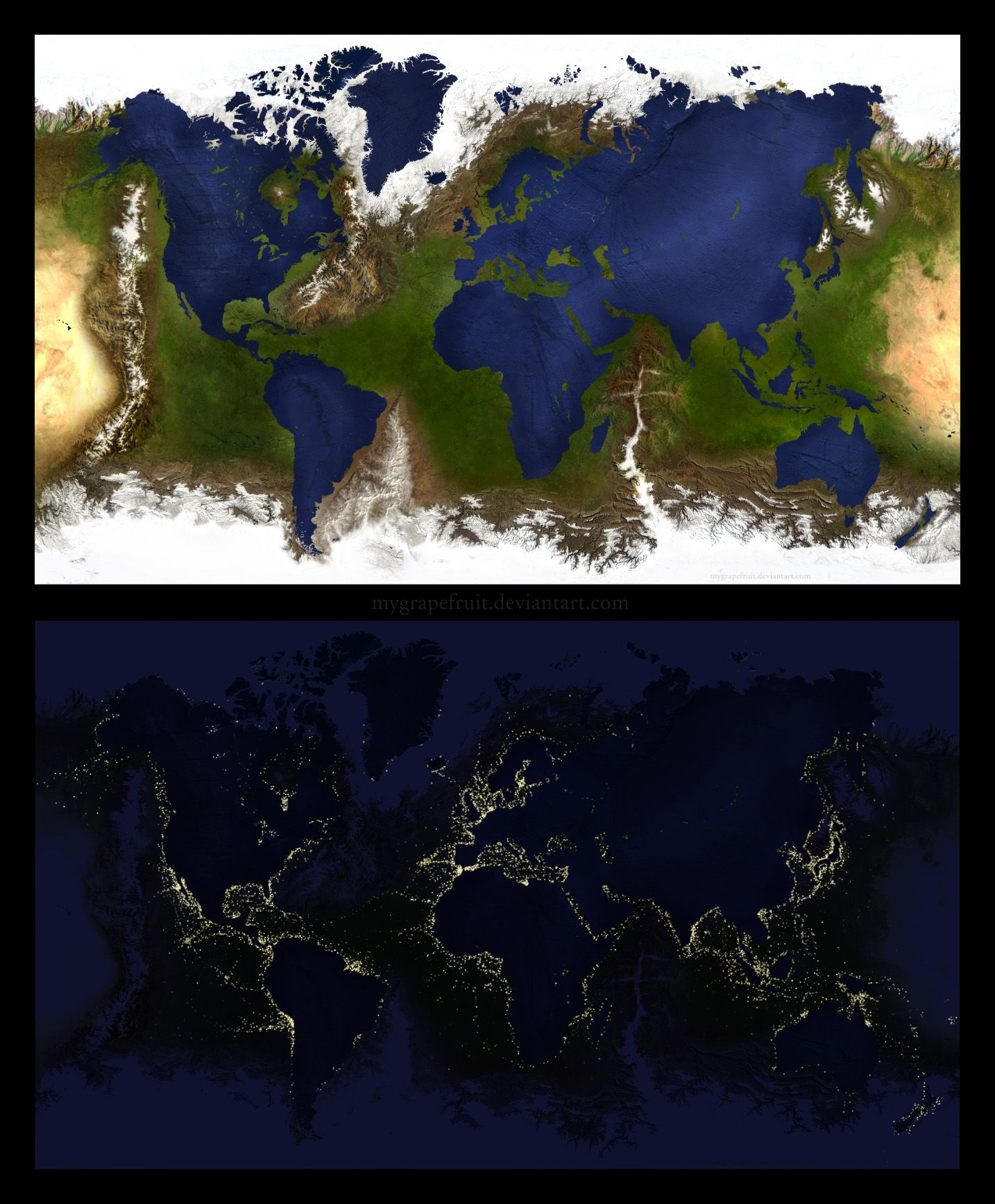 Inverted earth geographical map and nighttime image by inverted earth geographical map and nighttime image by mygrapefruit on deviantart gumiabroncs Choice Image
