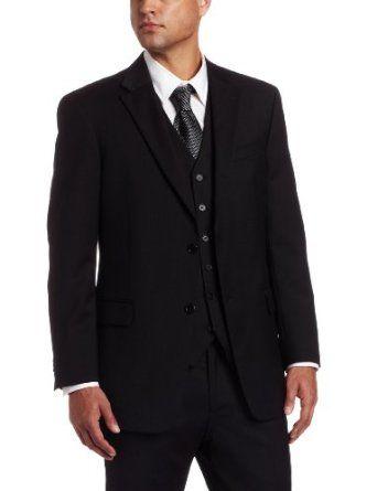 Tommy Hilfiger Mens Navy Line Plaid 2 Button Side Vent Trim Fit Suit