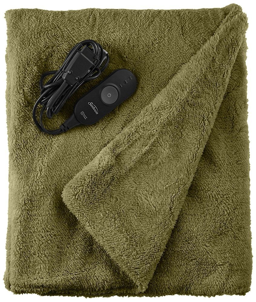 Microplush Heated Throw 3 Heat Settings With Elitestyle Controller Sage Sunbeam Heated Throw Heated Throw Blanket Throw Blanket