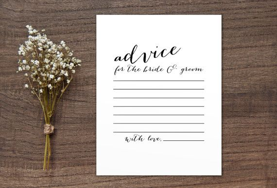Advice for the Bride and Groom Wedding Printable Sign, Newlyweds ...