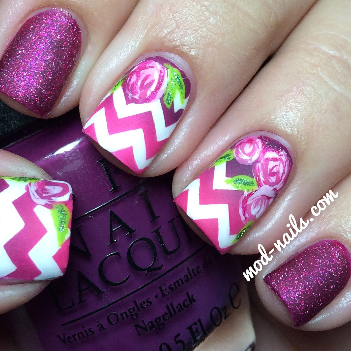 How To: Matte Chevron And Roses Nail Art | Skittle Nail Art 2 ...