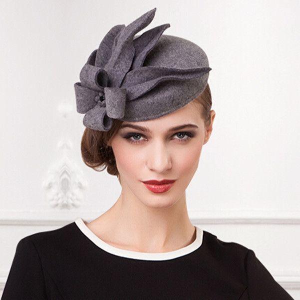 Gray flower pillbox hat for women felt fascinator hats cocktail wear ... 774819626f8