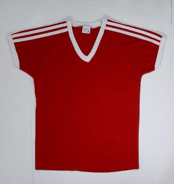 80c0bf23f5f63 70s 80s Ringer T Shirt V neck JCPenney S soft thin Plain Blank red ...