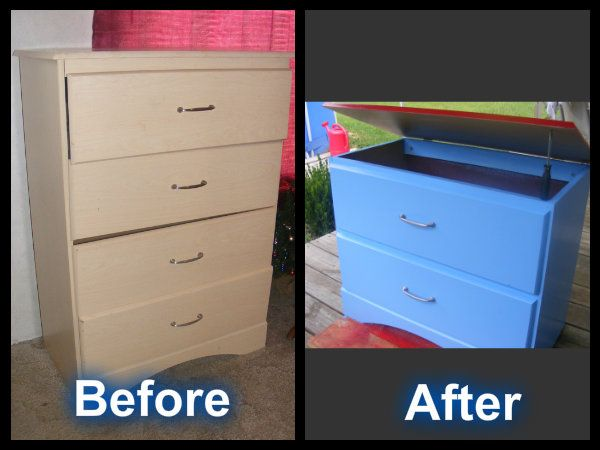 Old Dresser Converted Into A Colorful Toy Box Diy Toy Storage Diy Toy Box Kids Toy Boxes