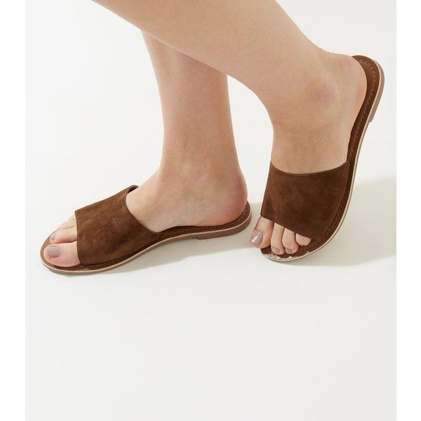 New Look Tan Suede Sliders (£18) ❤ liked on Polyvore featuring shoes, tan, suede leather shoes, new look shoes, pull on shoes, suede shoes and suede slip on shoes