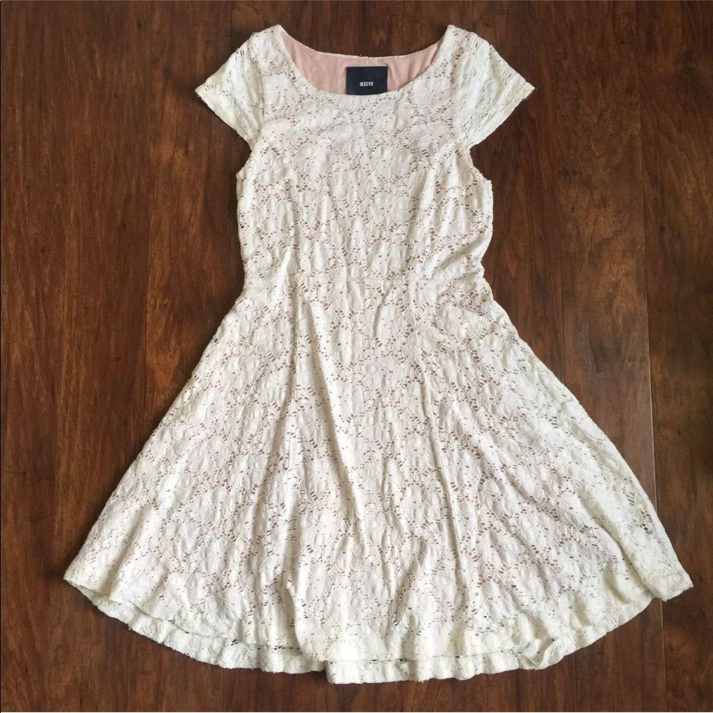Anthropologie Maeve Cream Eyelet Dress Medium